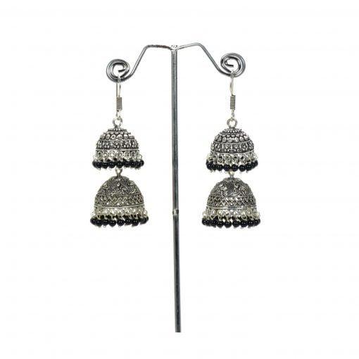 Two Step Oxidised Black Bead Hanging Jumkha