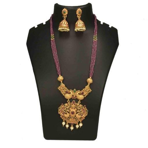 Matte Bead Peacock Necklace Set